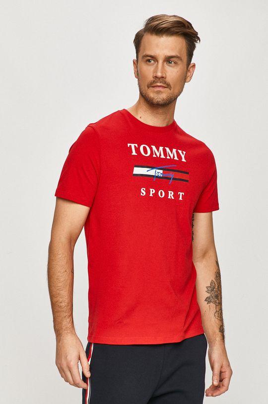 czerwony Tommy Sport - T-shirt Męski
