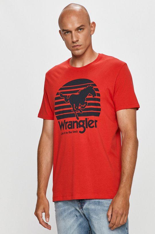 czerwony Wrangler - T-shirt Męski