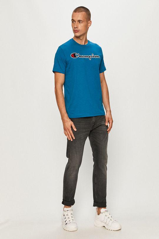 Champion - T-shirt stalowy niebieski