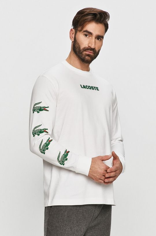 bílá Lacoste - Tričko s dlouhým rukávem Pánský