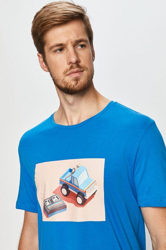 niebieski John Frank - T-shirt Męski