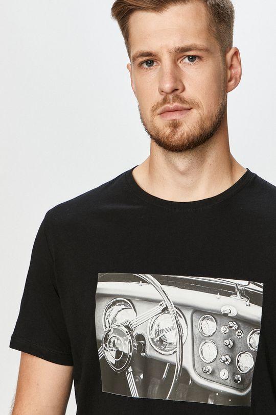 czarny John Frank - T-shirt