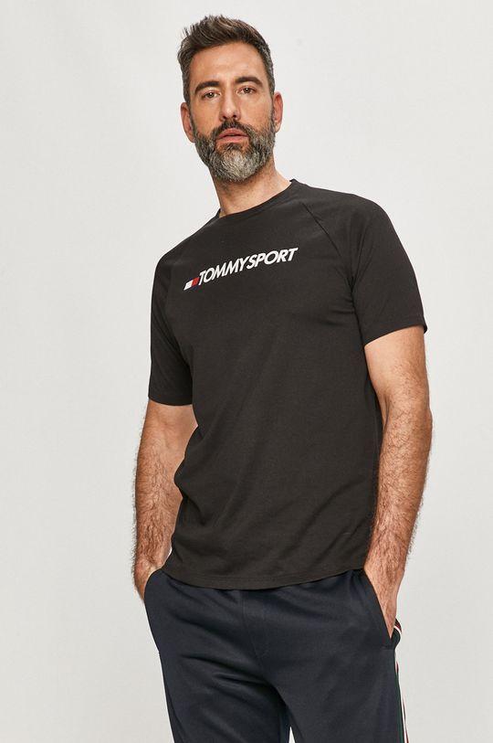 czarny Tommy Sport - T-shirt Męski