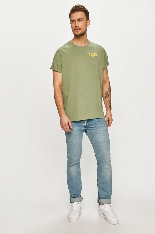 Levi's - T-shirt brudny zielony