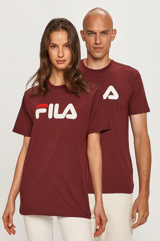 mahoniowy Fila - T-shirt Unisex