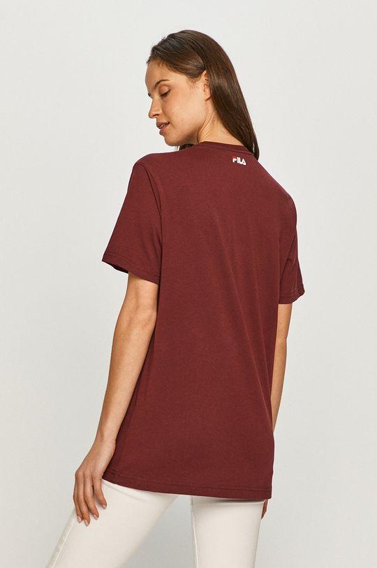 mahoniowy Fila - T-shirt