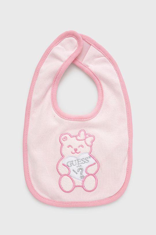 pastelowy różowy Guess - Śliniak niemowlęcy Dziecięcy