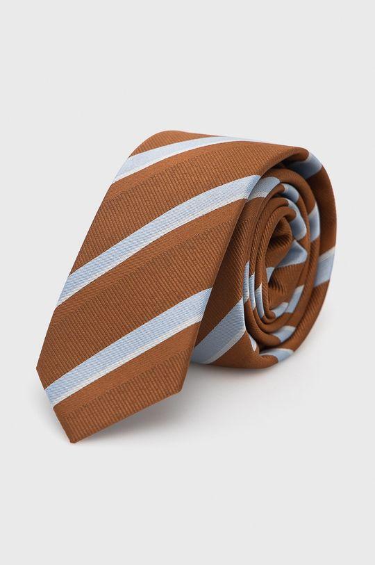Jack & Jones - Zestaw krawat, mucha i poszetka brązowy