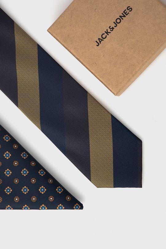 granatowy Jack & Jones - Krawat i poszetka Męski
