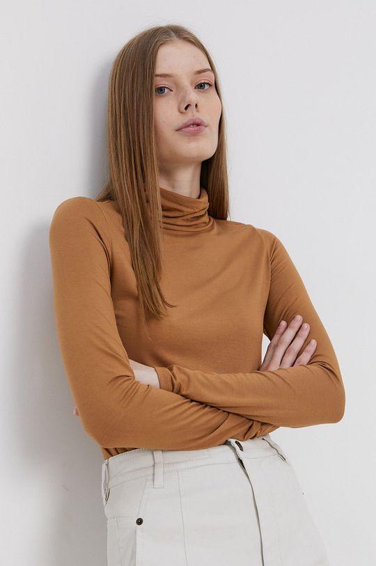 hnedá Tom Tailor - Tričko s dlhým rukávom Dámsky