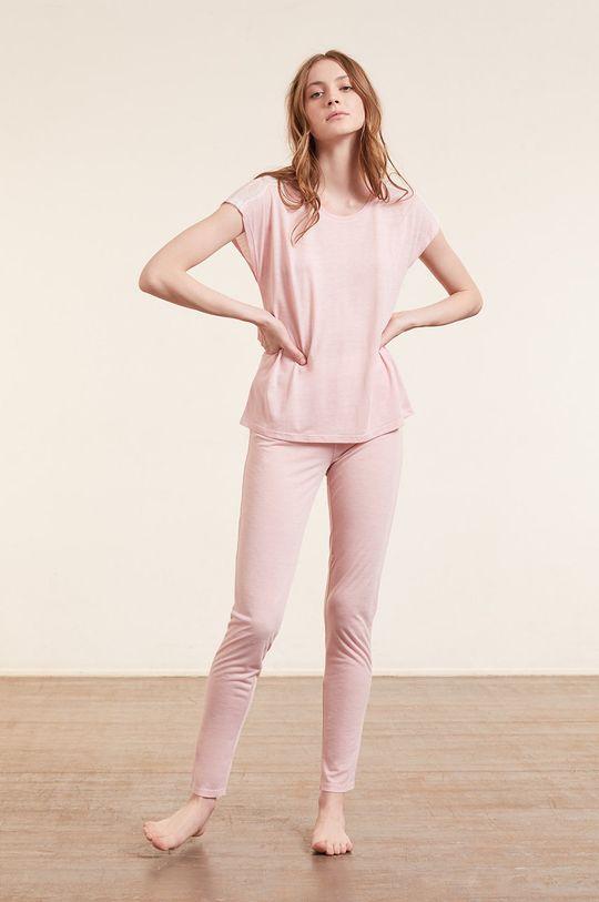 Etam - T-shirt piżamowy WARM DAY pastelowy różowy