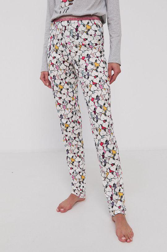 biały United Colors of Benetton - Spodnie piżamowe x Peanuts Damski