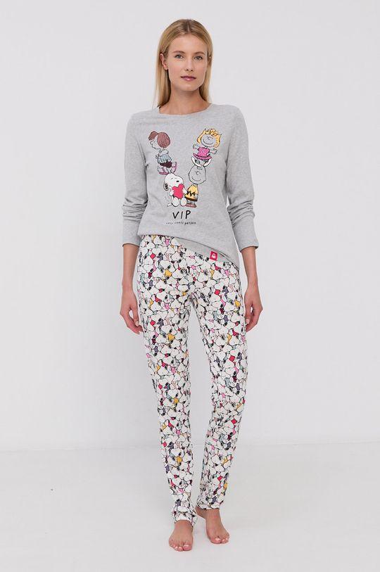 United Colors of Benetton - Spodnie piżamowe x Peanuts biały