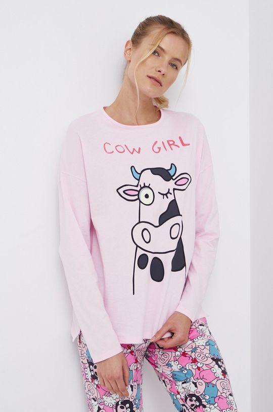 różowy United Colors of Benetton - Longsleeve piżamowy bawełniany Damski