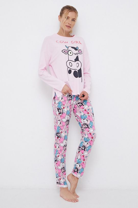 United Colors of Benetton - Longsleeve piżamowy bawełniany różowy