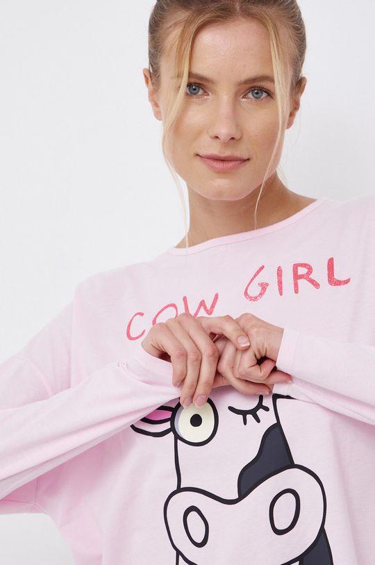 różowy United Colors of Benetton - Longsleeve piżamowy bawełniany