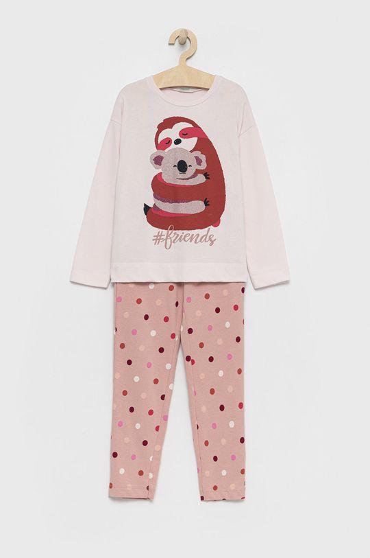 brudny róż United Colors of Benetton - Piżama bawełniana dziecięca Dziewczęcy