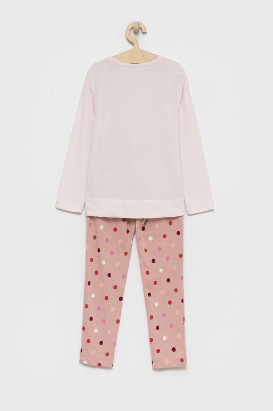 United Colors of Benetton - Piżama bawełniana dziecięca brudny róż