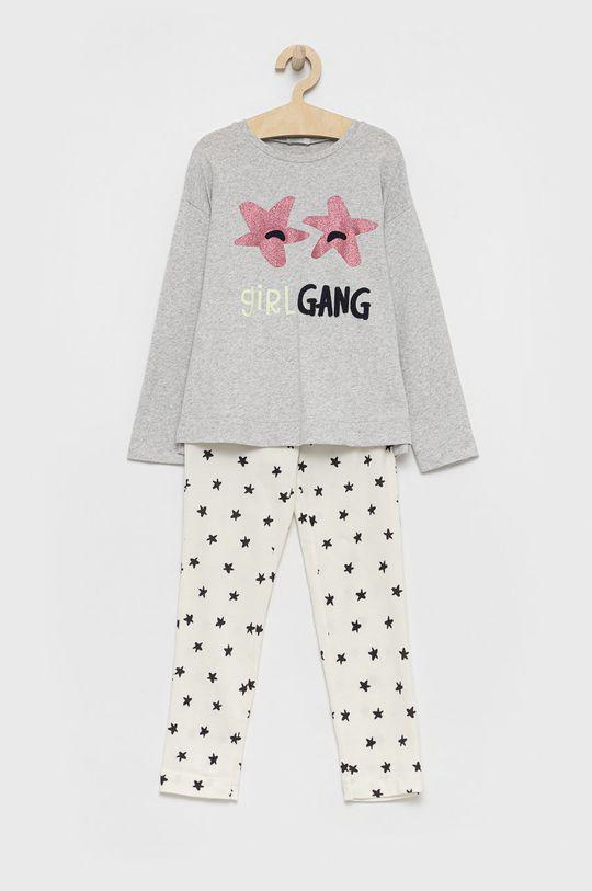 szary United Colors of Benetton - Piżama bawełniana dziecięca Dziewczęcy