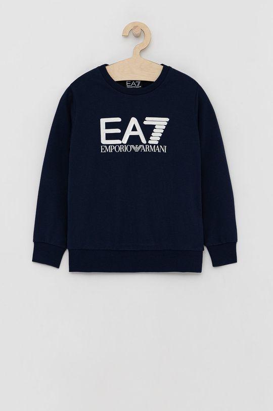 granatowy EA7 Emporio Armani - Bluza bawełniana dziecięca Chłopięcy