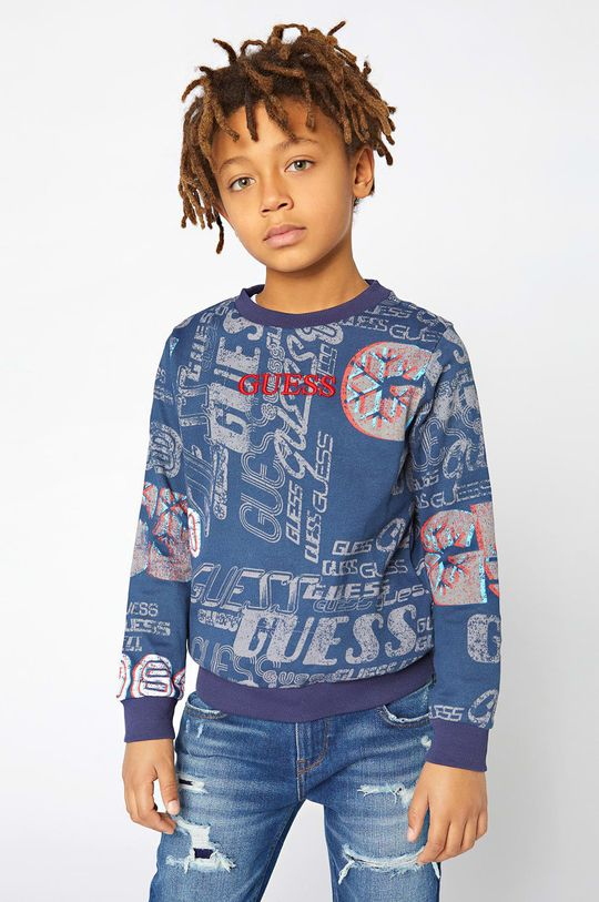 bleumarin Guess - Hanorac de bumbac pentru copii De băieți