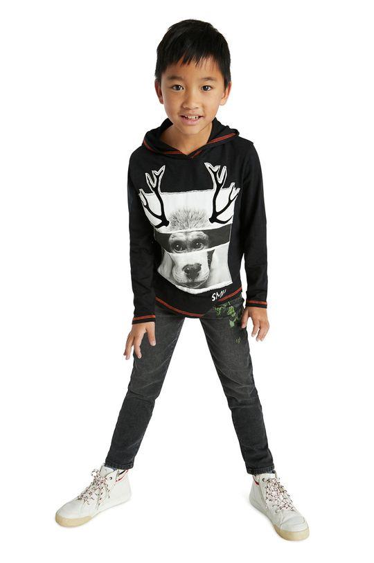 negru Desigual - Hanorac de bumbac pentru copii De băieți