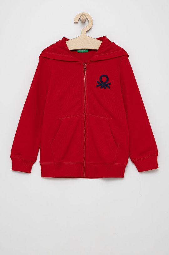czerwony United Colors of Benetton - Bluza bawełniana dziecięca Chłopięcy