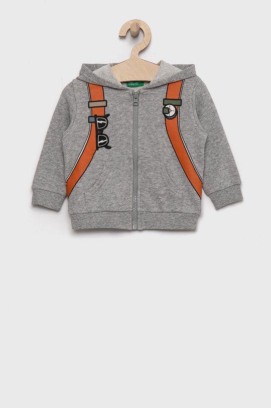 jasny szary United Colors of Benetton - Bluza bawełniana dziecięca Chłopięcy