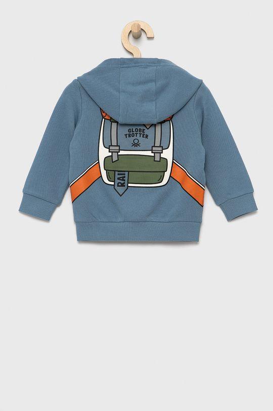 United Colors of Benetton - Bluza bawełniana dziecięca jasny niebieski
