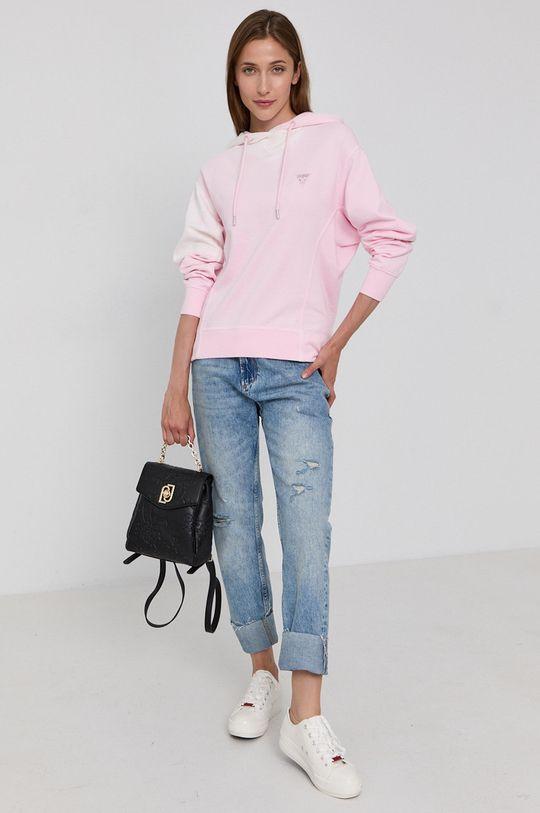 Guess - Bavlněná mikina růžová