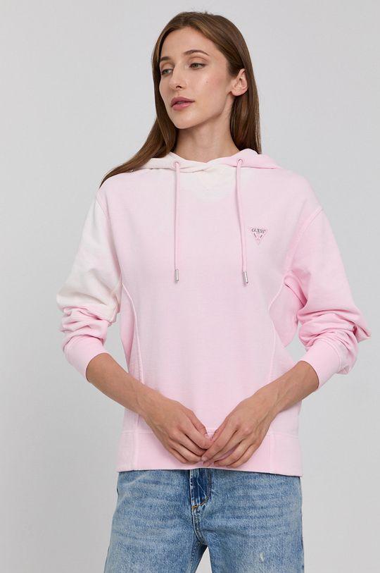 růžová Guess - Bavlněná mikina