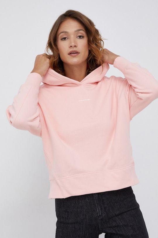 różowy Calvin Klein Jeans - Bluza bawełniana Damski
