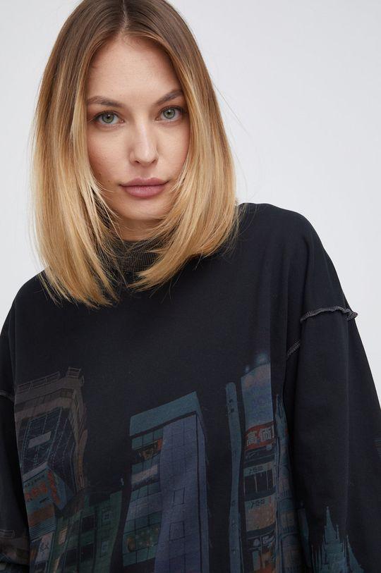 czarny Desigual - Bluza bawełniana