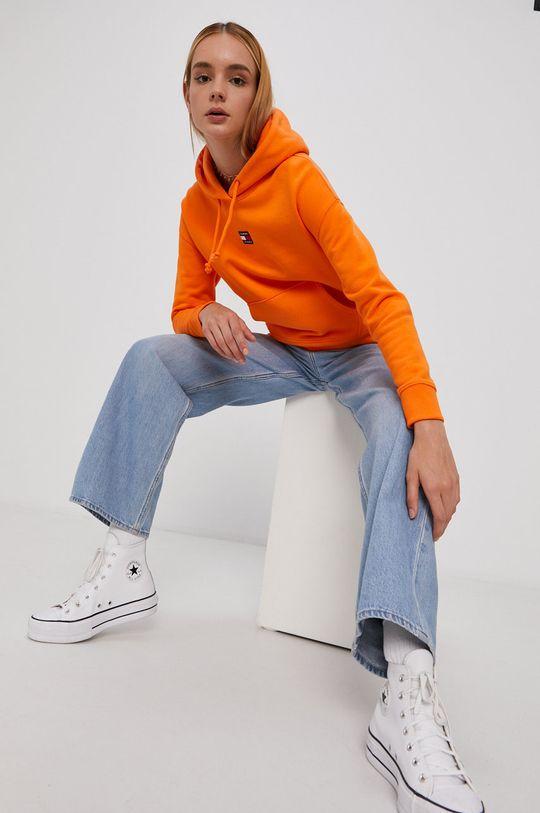 oranžová Tommy Jeans - Bavlněná mikina Dámský