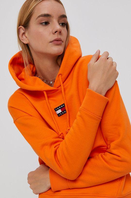 oranžová Tommy Jeans - Bavlněná mikina