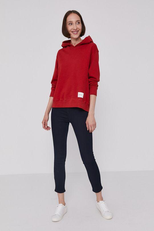 Boss - Bluza bawełniana czerwony