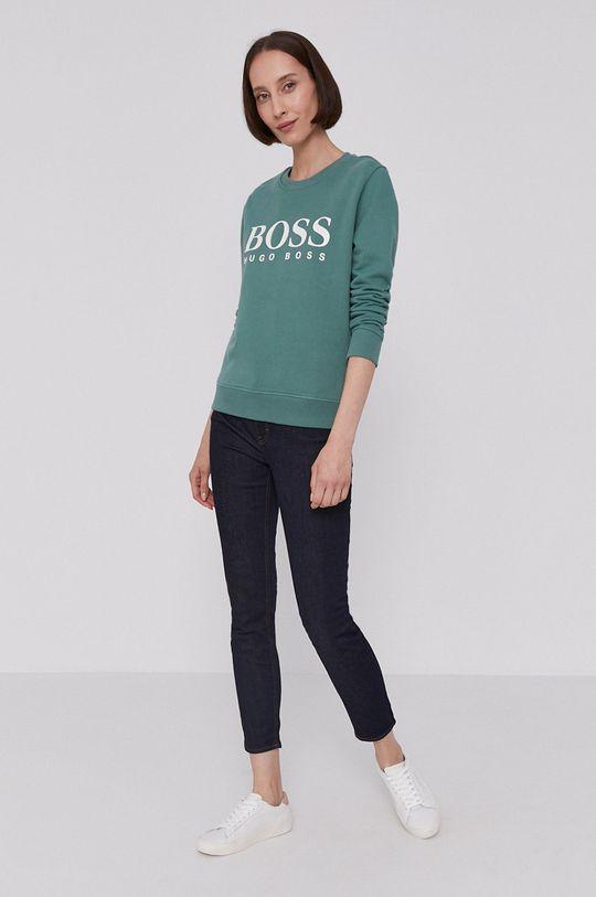 Boss - Bluza bawełniana brudny zielony