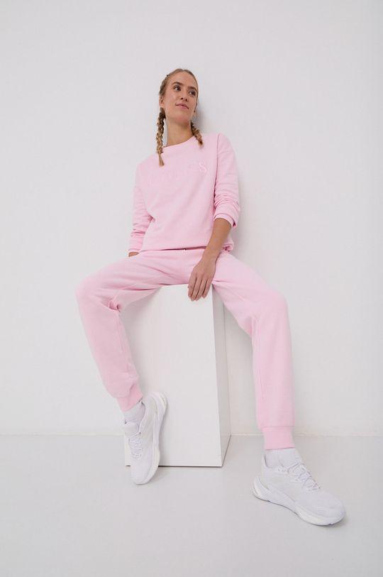 różowy Guess - Bluza bawełniana Damski