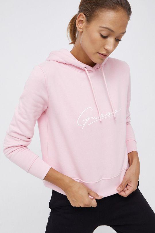 Guess - Bluza bawełniana różowy