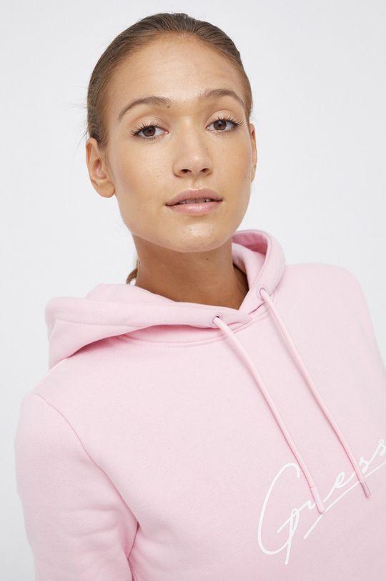 różowy Guess - Bluza bawełniana
