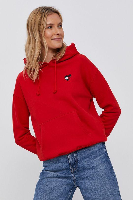 červená Tommy Jeans - Bavlněná mikina Dámský