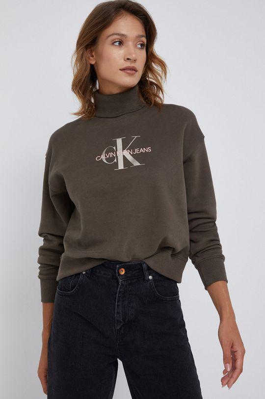 oliwkowy Calvin Klein Jeans - Bluza bawełniana Damski
