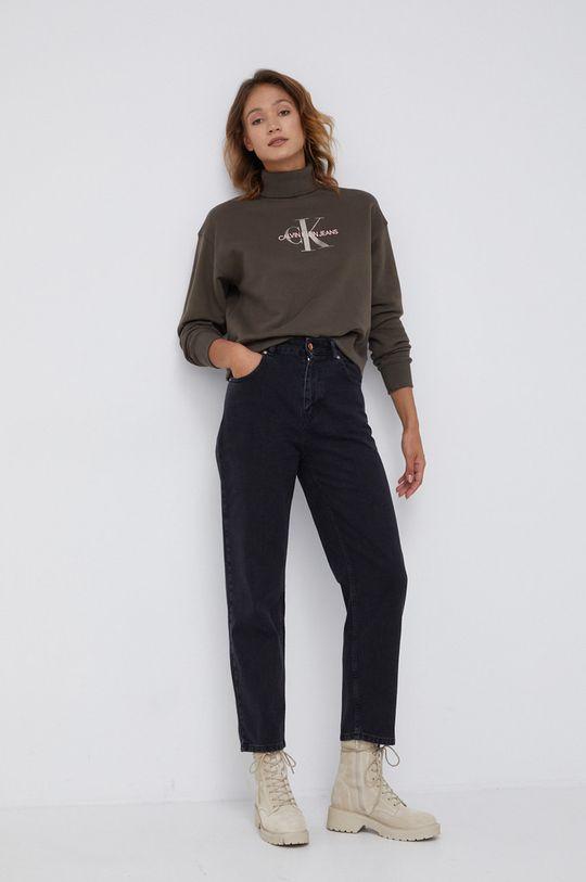 Calvin Klein Jeans - Bluza bawełniana oliwkowy