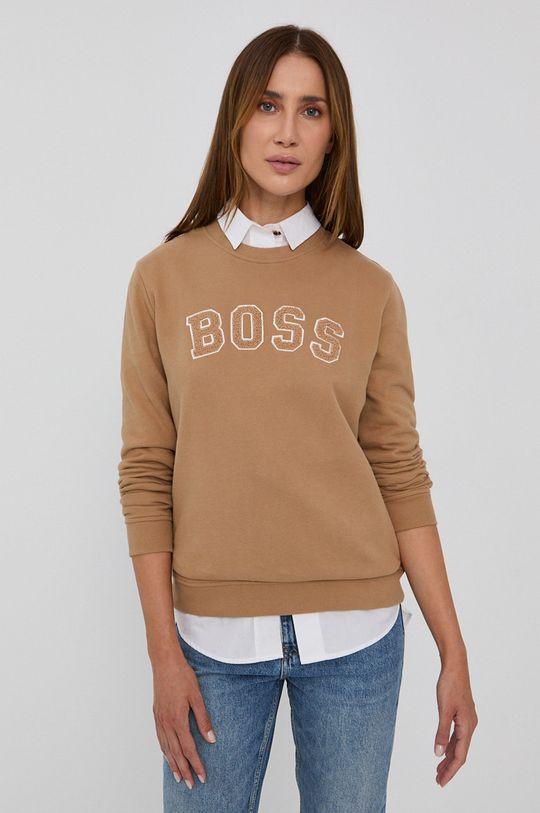 beżowy Boss - Bluza bawełniana Damski