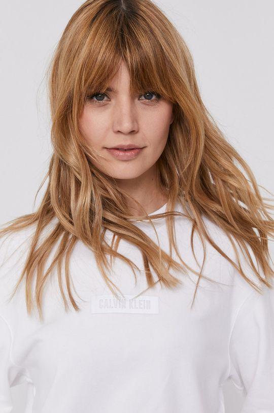 biały Calvin Klein Performance - Bluza bawełniana