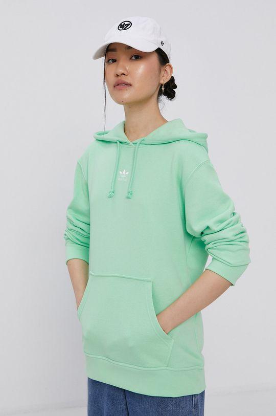světle zelená adidas Originals - Bavlněná mikina Dámský