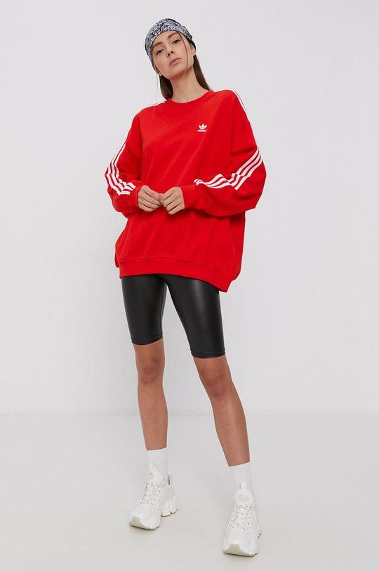 rosu adidas Originals - Hanorac de bumbac