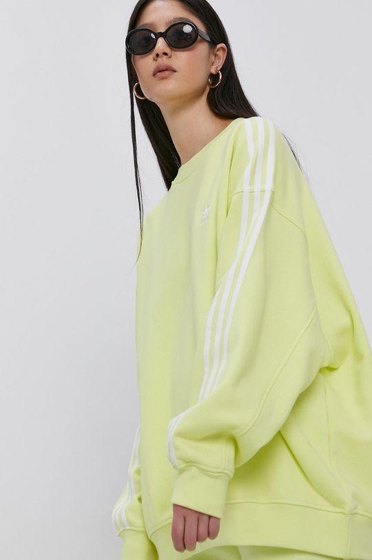 adidas Originals - Bluza bawełniana jasny żółty