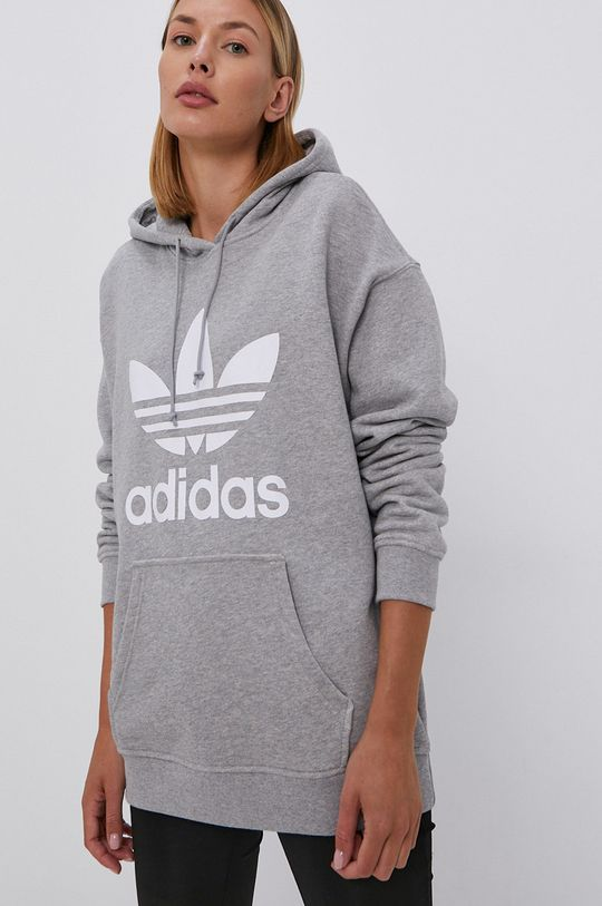 szary adidas Originals - Bluza bawełniana Damski