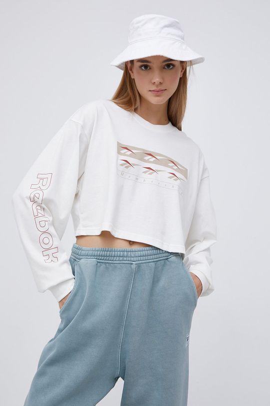 Reebok Classic - Bavlněné tričko s dlouhým rukávem smetanová